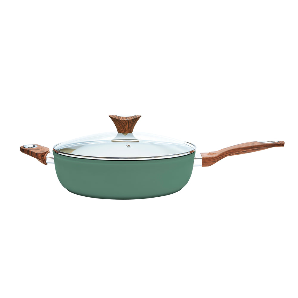 "Wood Handle 12"" Green Jumbo Fryer (PC-016-300)"