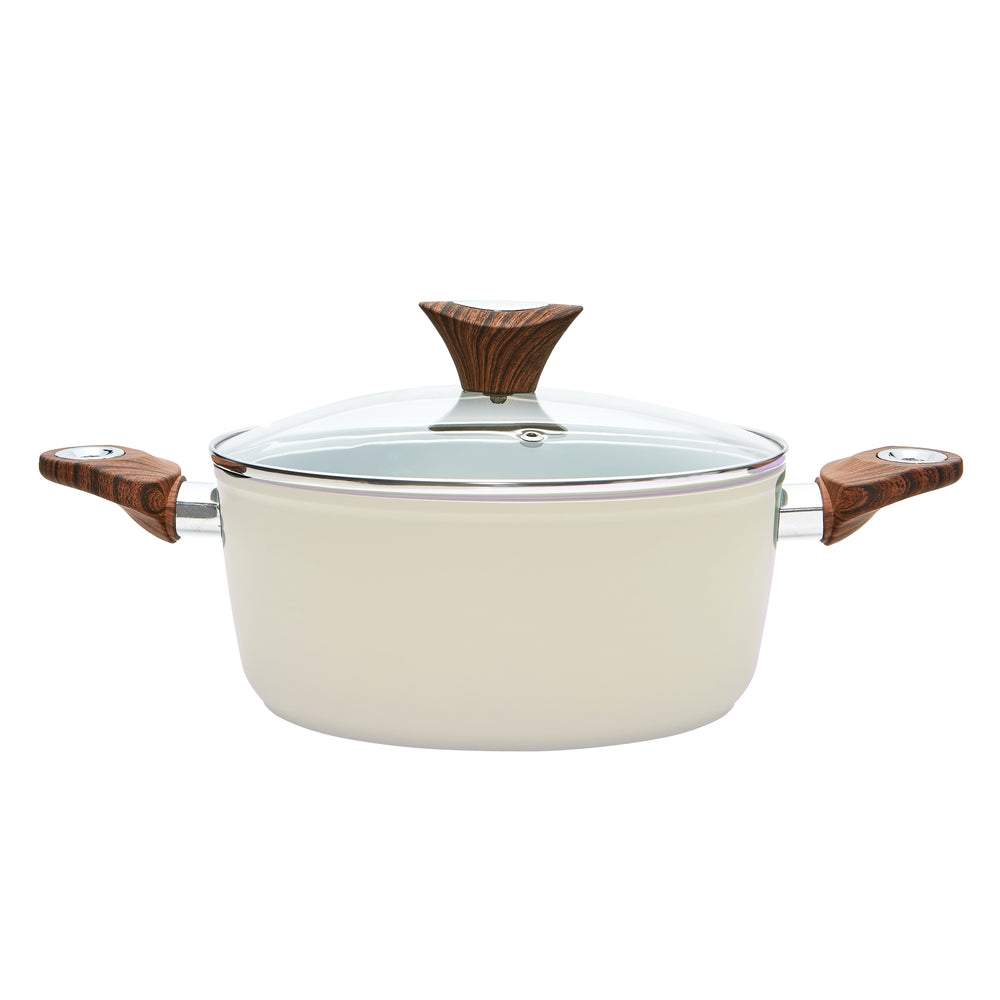 Wood Handle 4.4 QT Beige Casserole (PC-015-230)