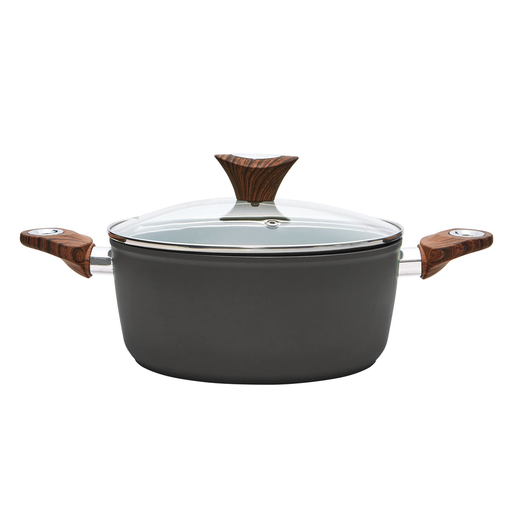 Wood Handle 4.4 QT Black Casserole (PC-015-001)