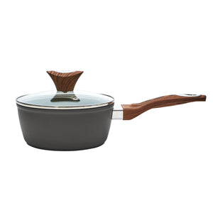 Wood Handle 1.8 QT Black Saucepan (PC-014-001)