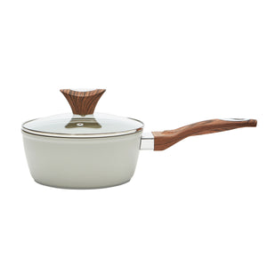 Wood Handle 1.8 QT Beige Saucepan