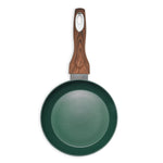 Matte Finish Wood Handle Green Fry Pan