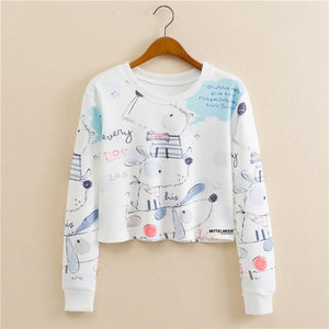 New Design European style round neck pullover long sleeve color space printingliilgal-liilgal