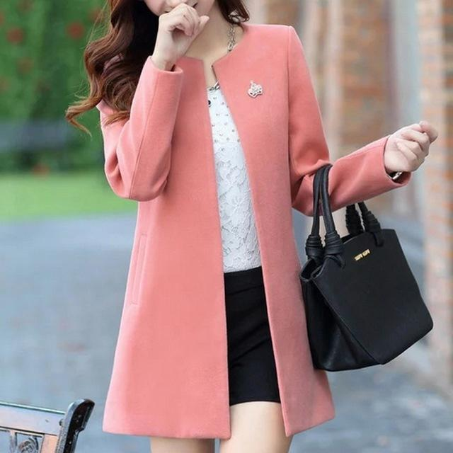 Fashion Round Neck Long Sleeve Women Coats S-XXL Solid Color Casaco Femininoliilgal-liilgal