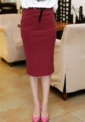 Candy Color Vintage Women Elastic Slim Medium-long High Waist Skirt Stretch Pocketsliilgal-liilgal