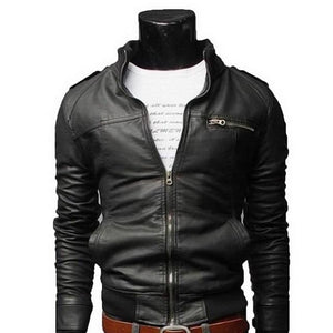 New Arrival PU Leather Jacket Men Long Standing Collar Solid Color Jacketsliilgal-liilgal