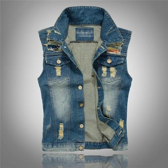 Denim Jeans Vest Men Letter Embroidery Male Jeans Waistcoat Hole Washed Cowboyliilgal-liilgal