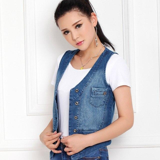 5XL Big Size Women's Vest 95% Cotton Female Vest Short Denim Vestliilgal-liilgal