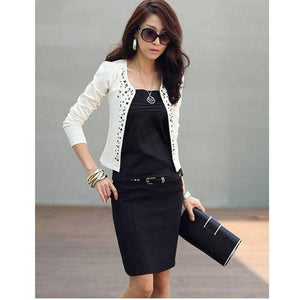 Spring Autumn Fashion Women OL Outwear Rhinestone Rivet Drilling Little Suit Jacketliilgal-liilgal