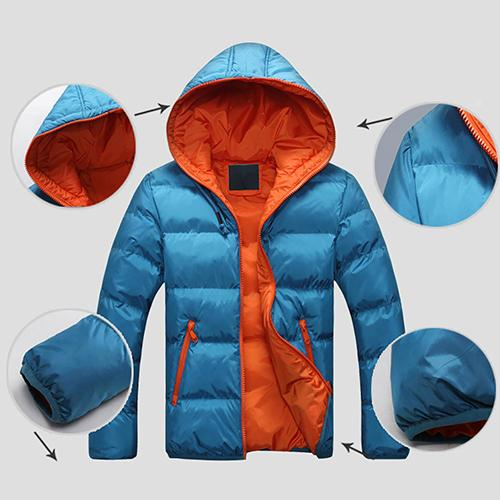 Men Winter Warm Down Jacket Casual Long Sleeve Padded Hooded Zipper Coatliilgal-liilgal