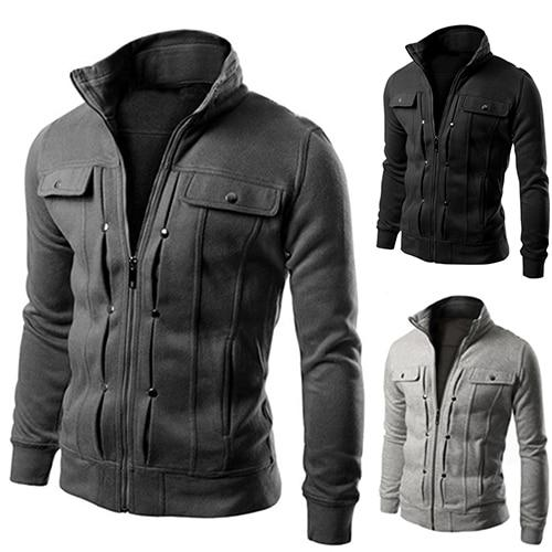 items! Men's Stand Collar Zipper Tracksuit Casual Jacket Coat for Winterliilgal-liilgal