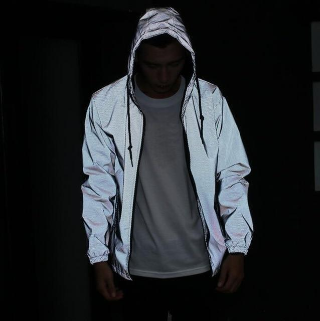 Fashion Jacket Men 3M Reflective Skateboards Triangle Windproof Raincoat Raincoat Outerwear coatliilgal-liilgal
