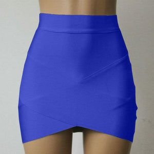 Women Lady Stretch Skirt Cross Irregular Hem Solid Fitted Mini Skirtliilgal-liilgal