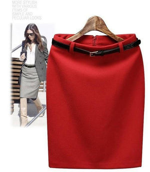 CWLSP S-3XL Plus Size Winter Autumn Wool Pencil Skirt Women's Formal OLliilgal-liilgal