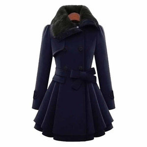 Women Wool Blend Trench Overcoat Winter Turn-down Collar Long Sleeve Peacoat Doubleliilgal-liilgal