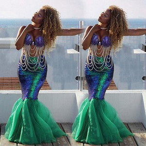 US Stock Sexy Women Mermaid Costume Skirt Fancy Party Cocktail Sequins Maxiliilgal-liilgal