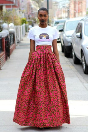 New Spring Summer Women Long Skirt Fashion Bohemian Big Swing African Printliilgal-liilgal