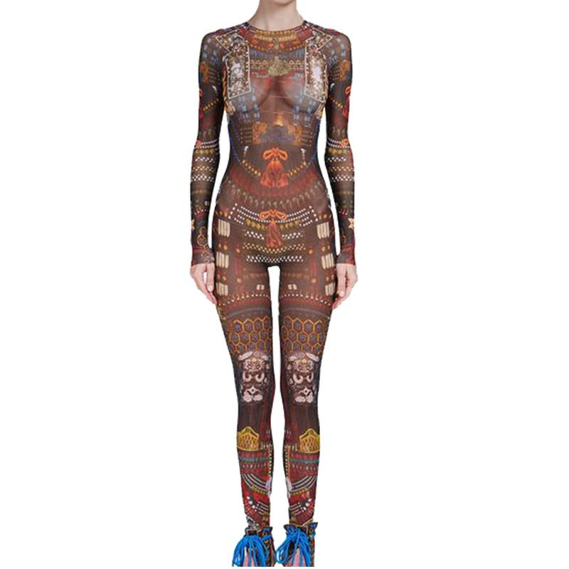 Free Shipping Jumpsuit Women Tribal Tattoo Printing Mesh Long Sleeve Sexy Bodysuitliilgal-liilgal