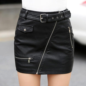 fashion pencil PU leather skirts womens hot zippers high waist pockets wrapliilgal-liilgal