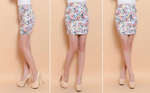 Floral mini pencil skirt print women vintage office work casual partyliilgal-liilgal