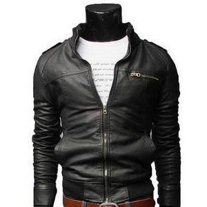 New Arrival PU Leather Jacket Men Long Stand Collar Solid Color Jacketsliilgal-liilgal