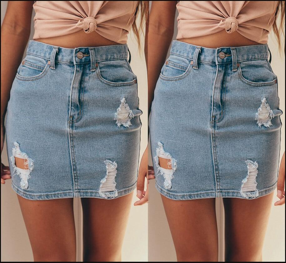 New Fashion Women's Stretch Denim Mini Skirt Pencil Hole Solid Summer Casualliilgal-liilgal