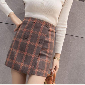 New Korean Style Plaid Skirt Woman Summer Skirt A Hight Waist Skirtliilgal-liilgal