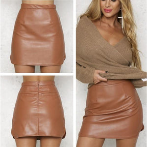 High Waist Pu Faux Leather Women Skirt Real Photo Sexy Pencil Skirtliilgal-liilgal