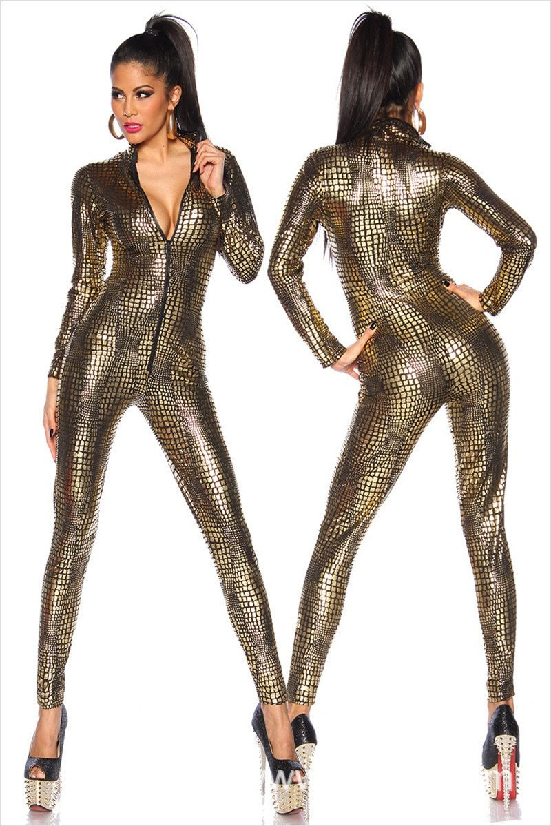 Sexy Black Wet Look Snake Jumpsuit PVC Latex Catsuit Nightclub DS Costumesliilgal-liilgal