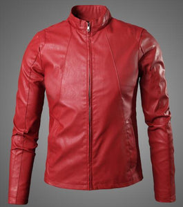 New Cool Design Red Faux Leather Jacket fashion Men Motorcycle Biker Jacketliilgal-liilgal