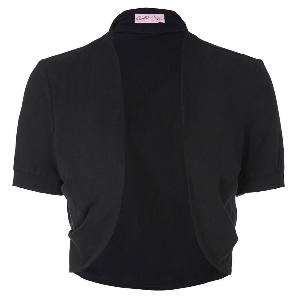 Stock Women Ladies Jacket Short Sleeves Pleated Sides Shrug Bolero Comfortableliilgal-liilgal