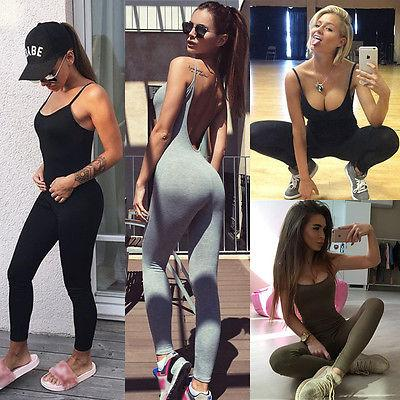 Casual Women Skinny Fitness Leggings Pants Sleeveless O-Neck Jumpsuit Clothes with 3liilgal-liilgal