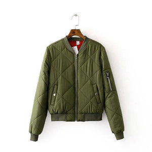 Top Quality Spring Autumn Flight Army Green Black Bomber Jacket Woman's Zipperliilgal-liilgal