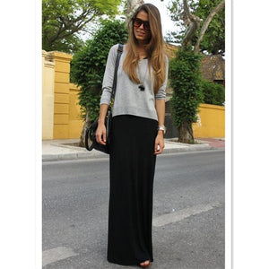 Fall Spring Solid Casual Modal Black Long Skirts 7XL Plus Sizeliilgal-liilgal
