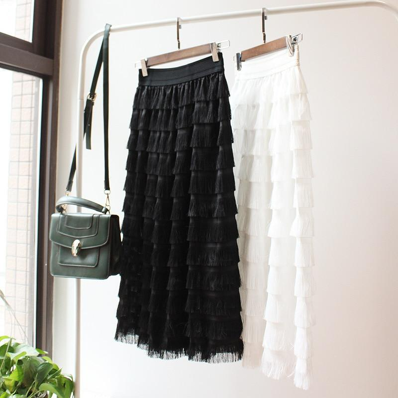 2017 summer new tassel cake skirt A word long skirts factory directliilgal-liilgal