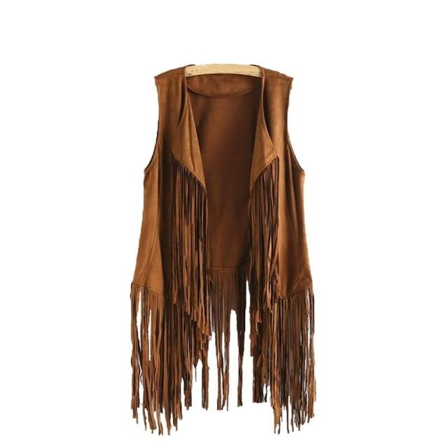 Women Autumn Winter Faux Suede Ethnic Sleeveless Tassels Fringed Vest Cardigan Hoodedliilgal-liilgal