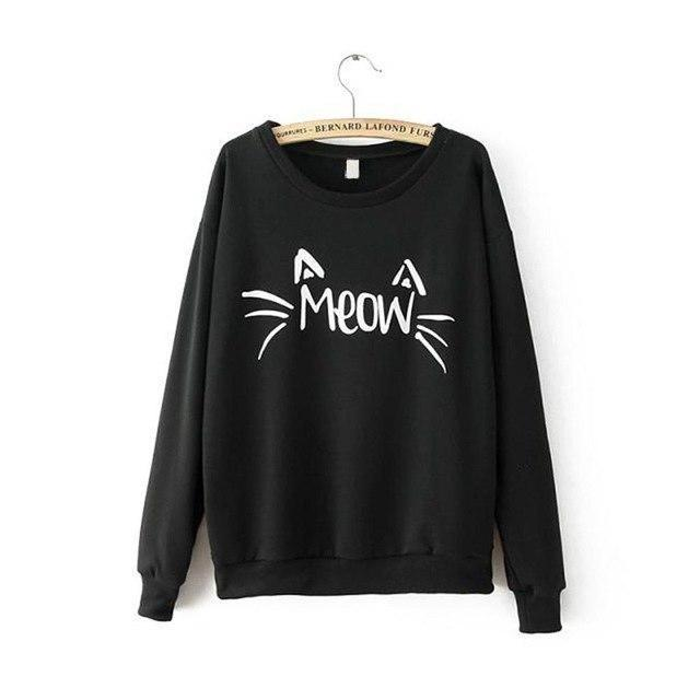 Charm Women Long Sleeve MEOW Print Tops Jacket Coat Cozy Sweatshirtsliilgal-liilgal