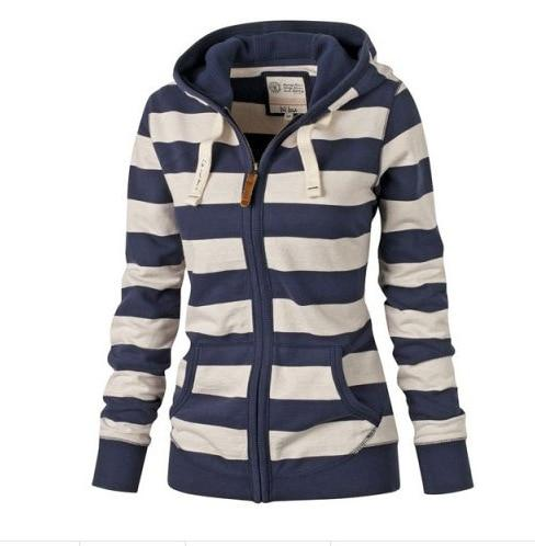 2017 Long-sleeved Striped Sweater Coat Women Large Size Jacket Hooded Europe Americaliilgal-liilgal