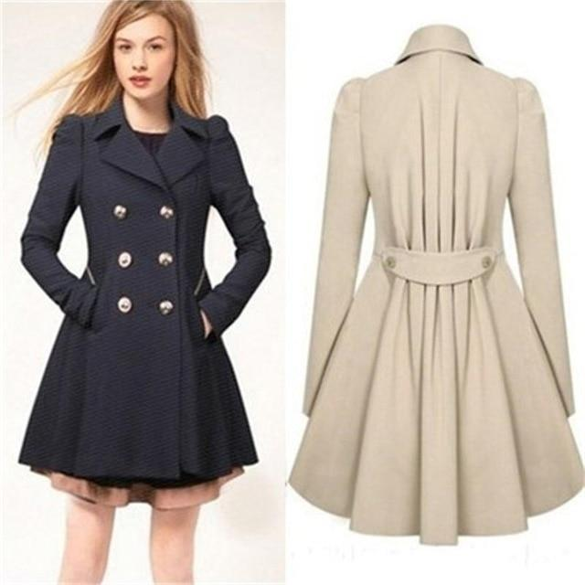 2015 Women's Autumn Slim Trench Winter Double Breasted Coat Turn-down Collarliilgal-liilgal