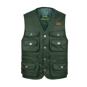 Men Big Size Comfortable Coat Vest Masculino Fashion Multi-Pocket Reporter Waistcoat Hommeliilgal-liilgal