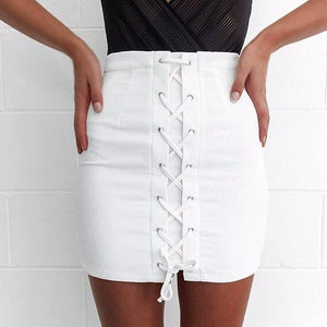 Sexy Women's Hip Skirt Lace-up High Waist Bandage Cross Pencil Skirt Miniliilgal-liilgal