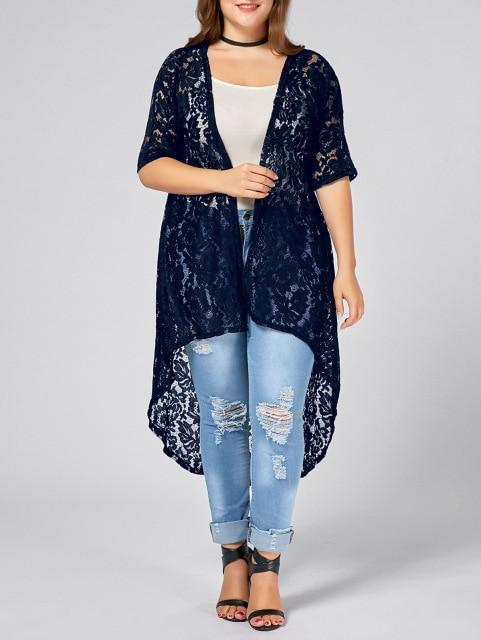 Gamiss Plus Size Lace Crochet Long Open Front Cardigan Summer Autumn Jacketsliilgal-liilgal