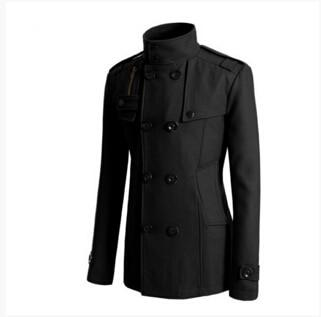 Fashion Slim Fit Long Coat Warm Double Breasted Peacoat Coat Jacket -liilgal-liilgal