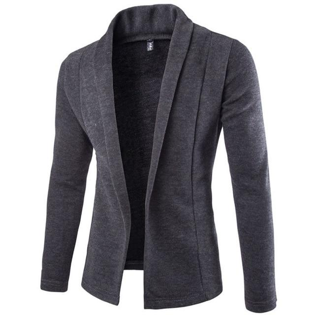 New Fashion Men Stylish Long Sleeve Slim Fit Knit V-Neck Cardigan Longliilgal-liilgal