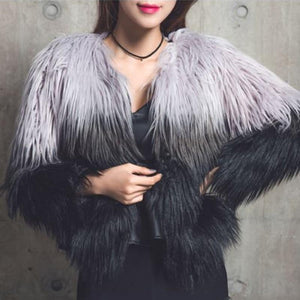 Elegant Women Faux Fur Coat Winter High-grade Shaggy Coats Gradual Color Longliilgal-liilgal