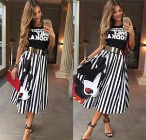 Summer Women Striped A-line Long Skirts Elastic High Waist Kawaii Mickey Maxiliilgal-liilgal