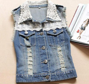 New Women Spring&Summer Fashion Casual Vintage Ripped Hole Denim Vest Lace Sleevelessliilgal-liilgal