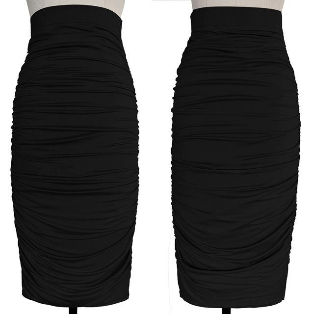 Womens Elegant Ruched Frill Ruffle High Waist Work Business Casual Partyliilgal-liilgal
