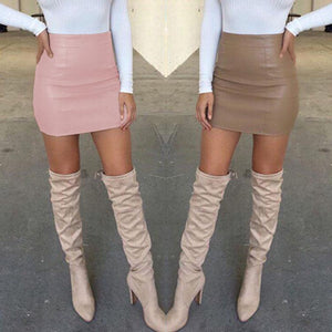 Women Ladies Sexy Bandge Leather High Waist Pencil Bodycon Hip Short Miniliilgal-liilgal