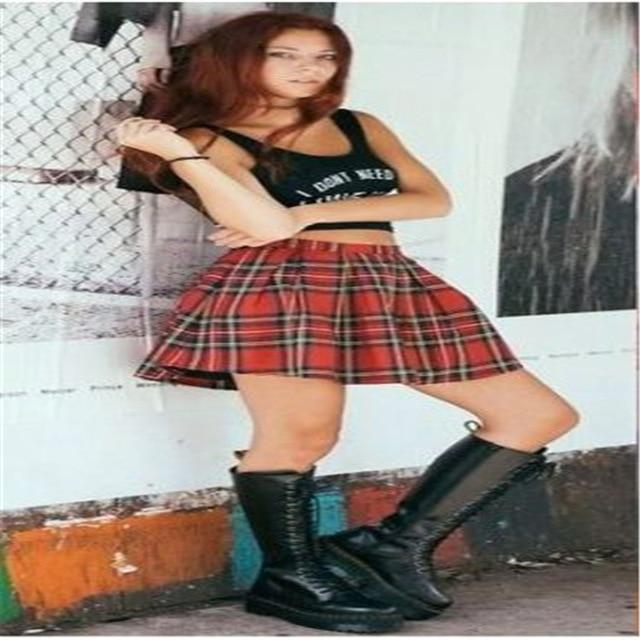 High quality school uniform skirt fashion plaid short skirt pleated cotton skirtliilgal-liilgal